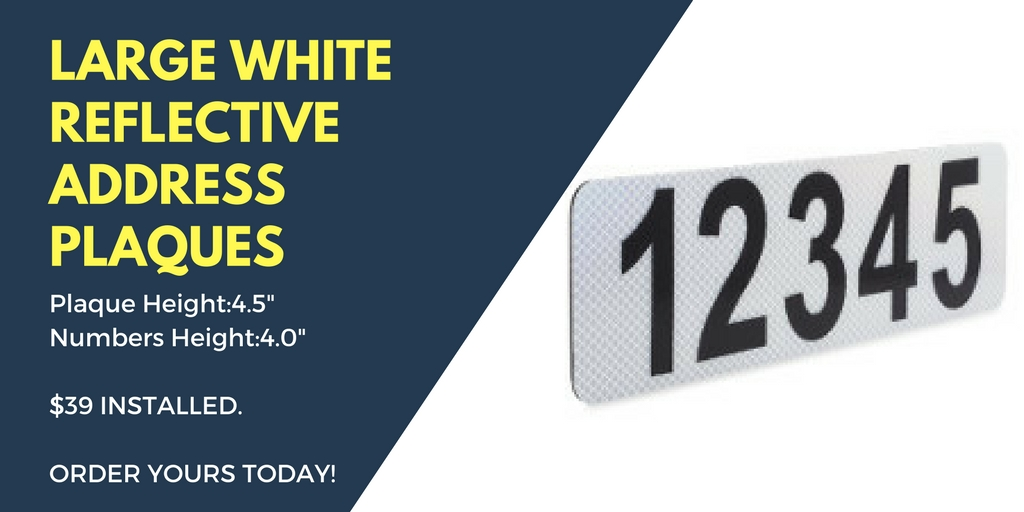 White Reflective Address Plaque 2 - Reflective Curb Address Plaque Installation Serving: San Diego, Palm Springs, Palm Desert, Rancho Mirage, La Quinta and More!