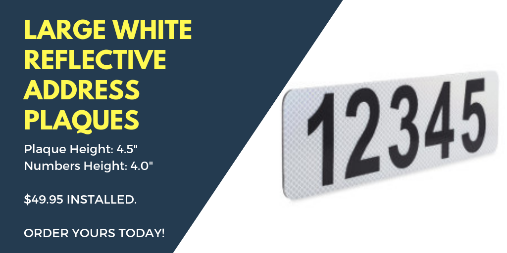 Reflective White Curb Address Plaque 49.95 - Reflective Curb Address Product Information