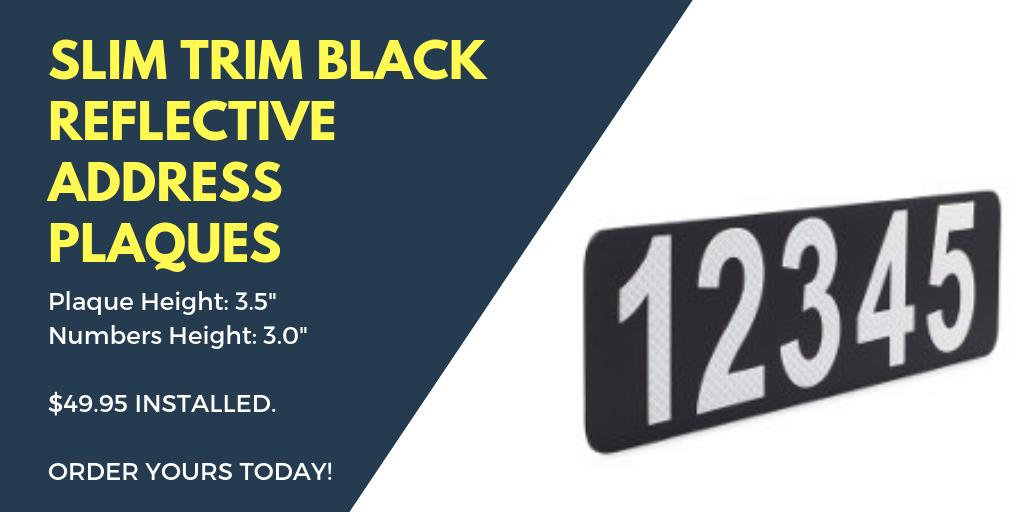 Slim Trim Reflective White Curb Address Plaque V2 49.95 - Reflective Curb Address Product Information